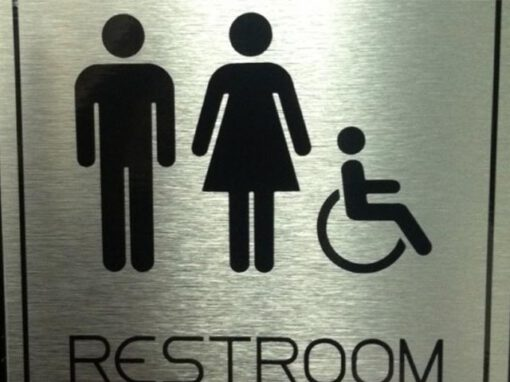 Brushed Silver Restroom Signs