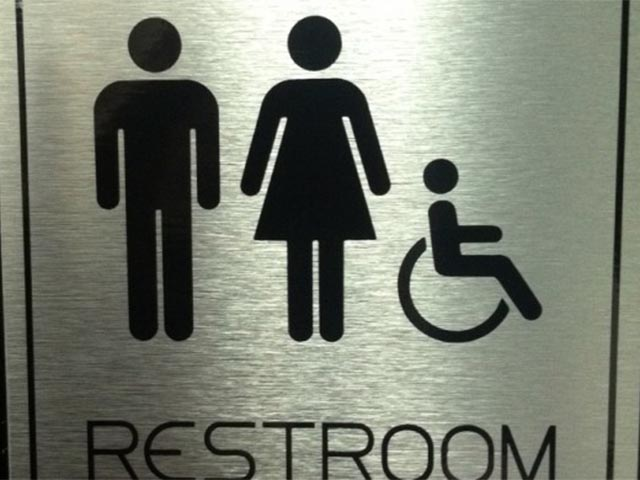 Brushed Silver Restroom Signs