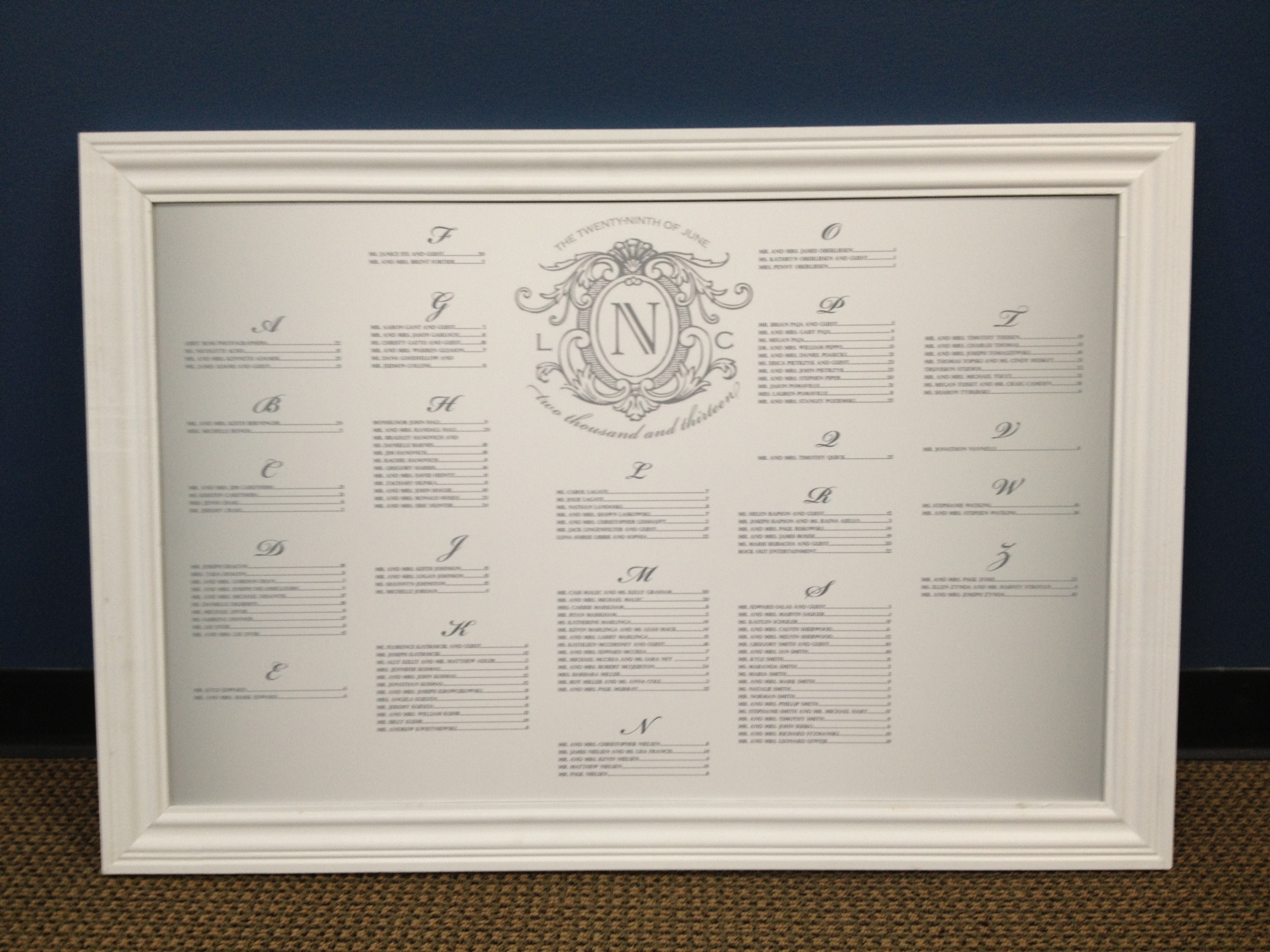 Where Can I Get My Wedding Seating Chart Designed And Printed Signarama Troy