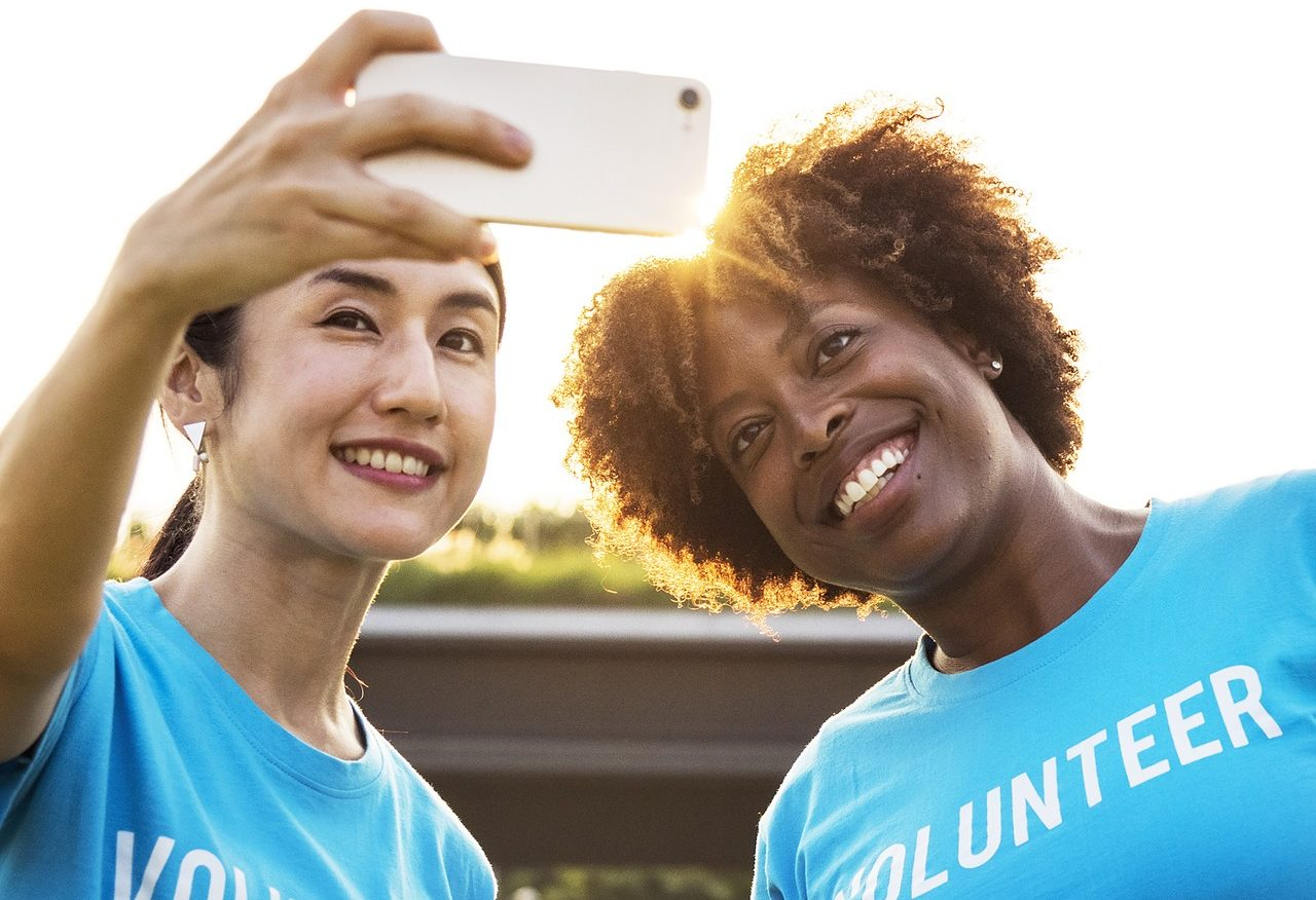 Volunteers taking a selfie