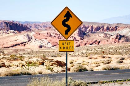 Regulatory signs - curvy road ahead