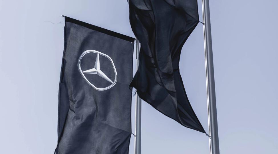 Mercedes Benz logo flags