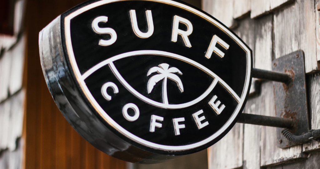 Surf Coffee sign