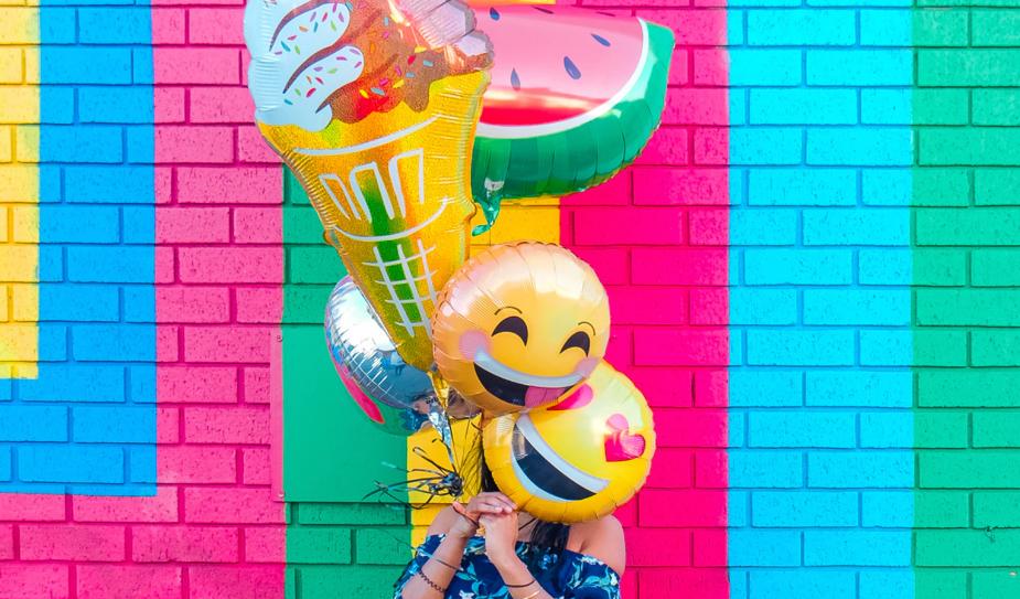 Various emoji balloons