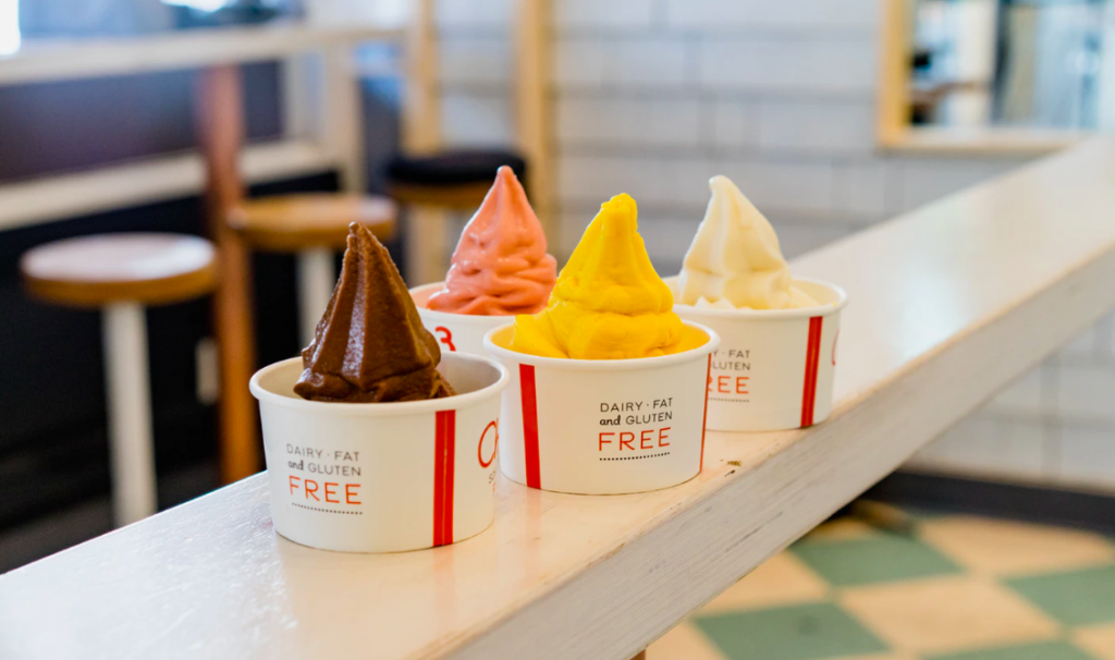 Various frozen yogurt flavors