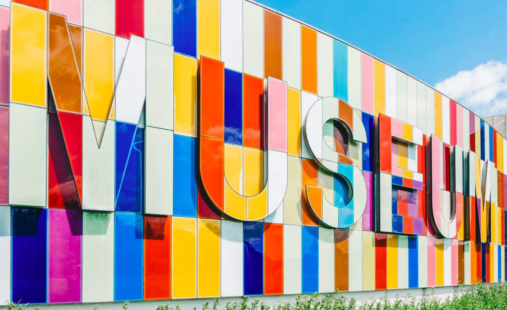 Museum colorful sign