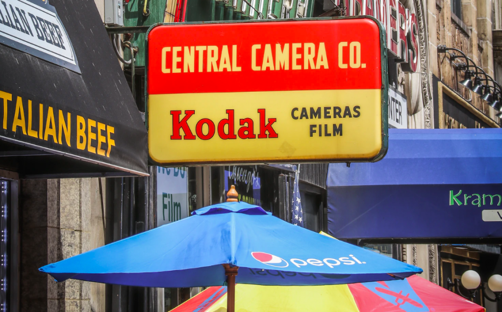 Kodak camera outdoor sign