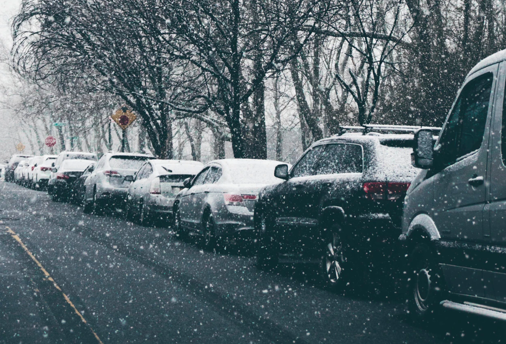 Snow covered vehicles