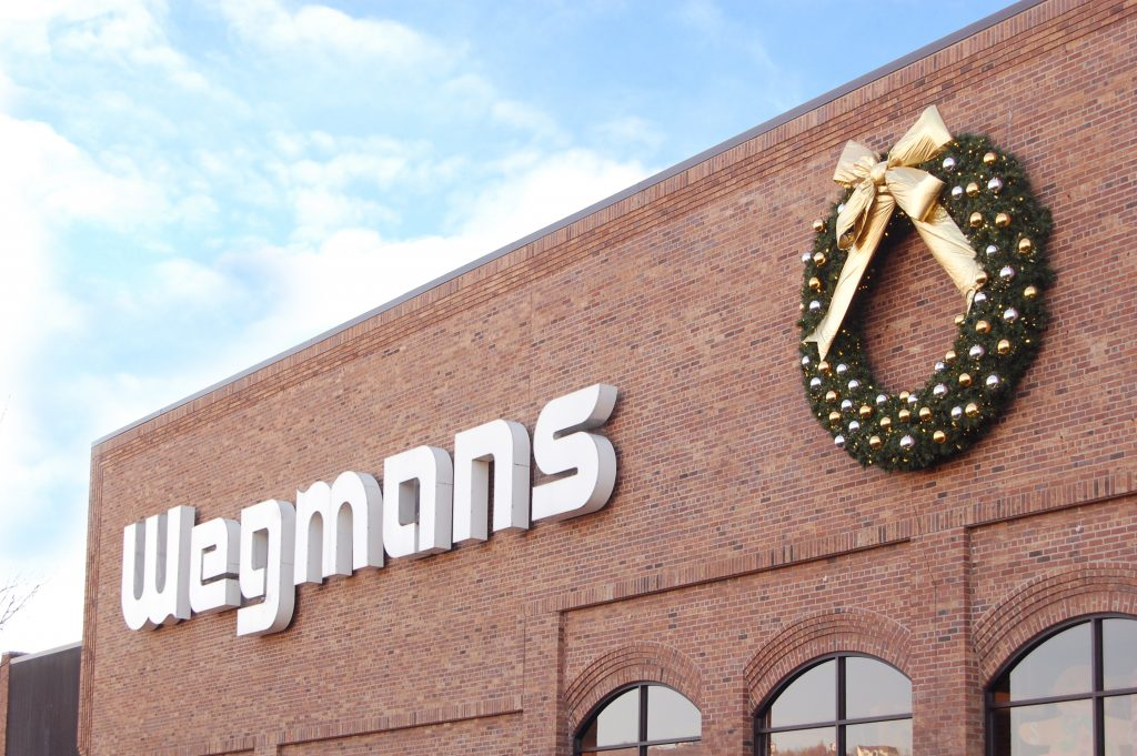 Christmas wreath on store wall outdoor