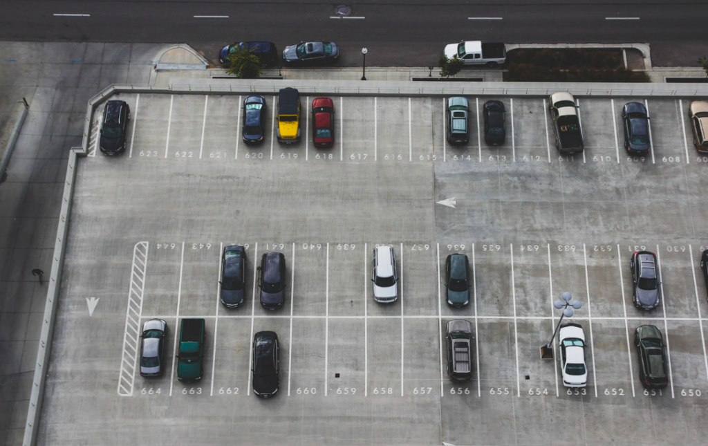 Open spaces in parking lot