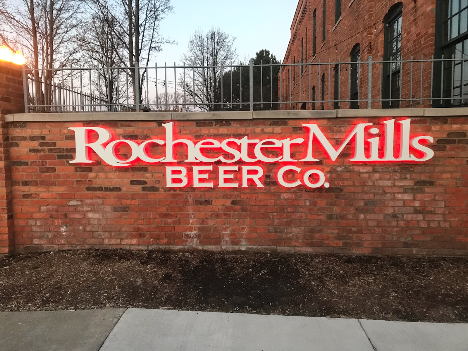 Rochester Mills Sign - Lit Channel Letters Front Close - Rochester Hills, MI
