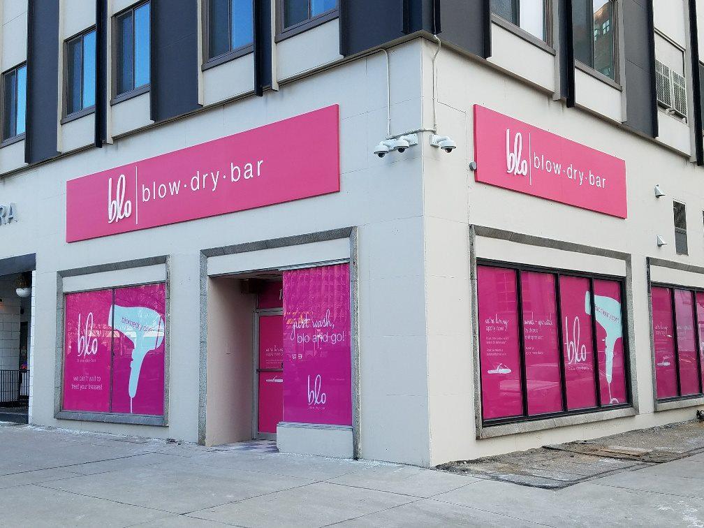 Blo Dry Bar Sign - Building Signs Metal Dimensional Corner View - Detroit, MI