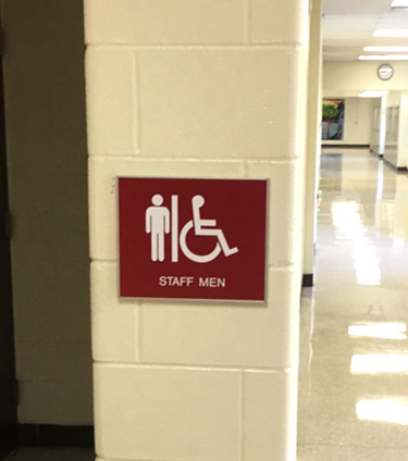 Barton Malow/Roseville High School - ADA and Wayfinding Signs Mens Bathroom - Roseville, MI
