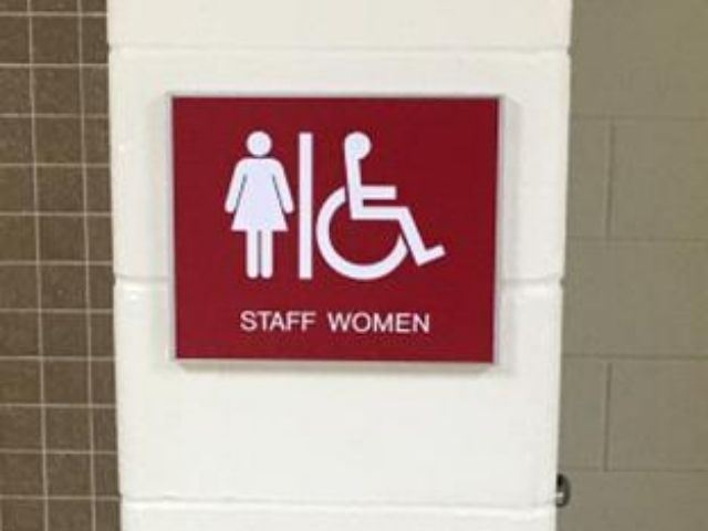 Barton Malow Roseville High School - ADA and Wayfinding Signs - Bathroom Sign - Roseville, MI