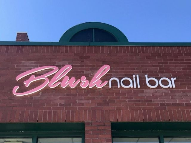 Blush Nail Bar Sign - Side lit channel letters Front close - Troy, MI