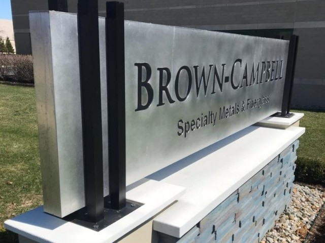Brown-Campbell Sign - Monument and Cabinet Sign Side Close Up - Shelby Township, MI