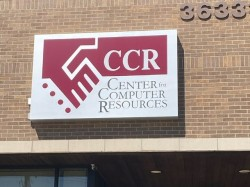 Center Computer Resources Sign - Lit Wall Cabinet Front Building - Sterling Heights, MI