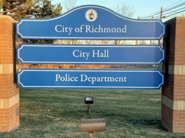 City of Richmond Sign - Routed Monument Sign Police and City Hall - Richmond, MI