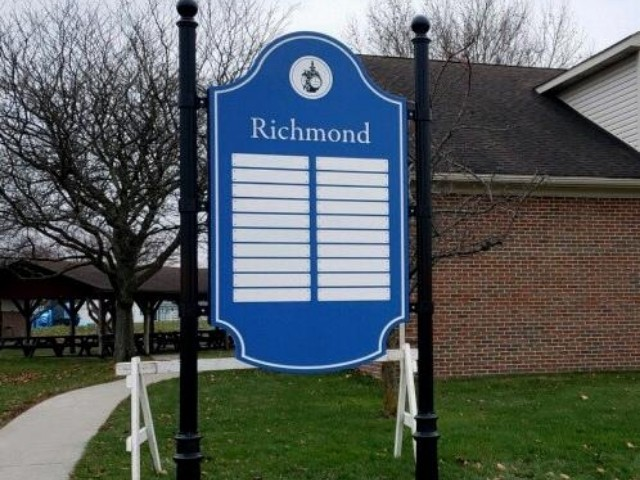 City of Richmond Sign - Routed Signs Directory in Park Close Up - Richmond, MI