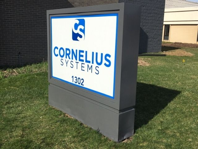 Cornelius Systems Sign - Monument and Cabinet Sign Side Angle - Clawson, MI