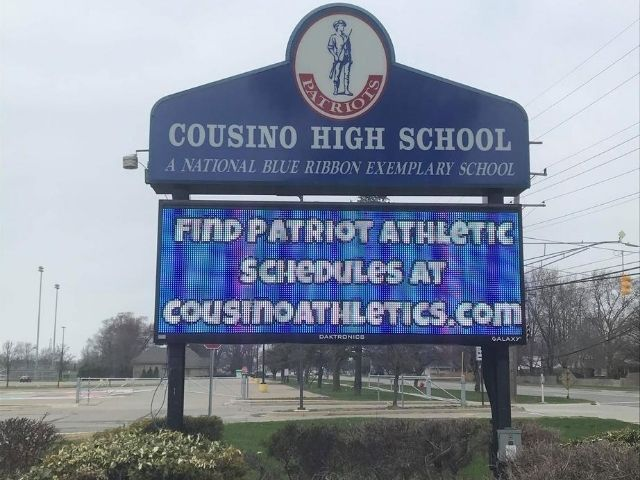 Cousino High School Sign - LED Message Center Front - Warren, MI