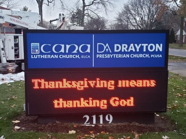 Drayton Presbyterian Church Sign - Monument and Cabinet sign Front - Royal Oak, MI