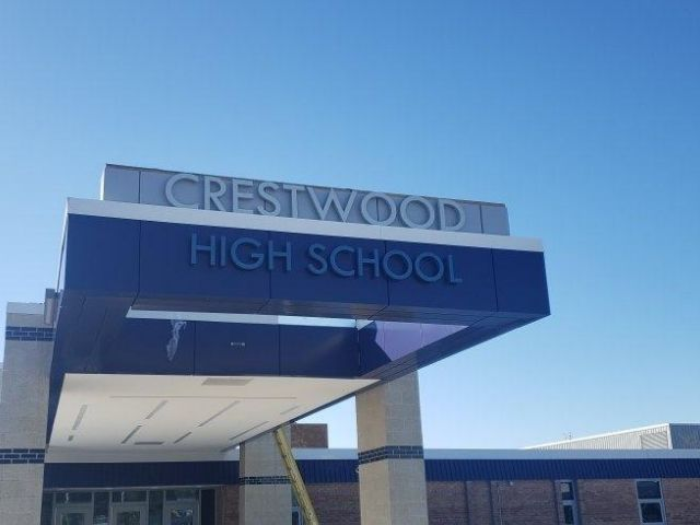 George Auch Company - Crestwood High school - Halo lit letters Front - Dearborn Heights, MI