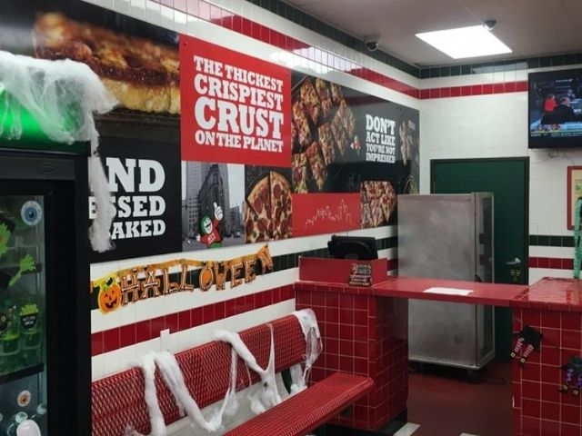 Jet's Pizza Sign - Branding Services Interior Signage Wall Left Angle - Sterling Heights, MI