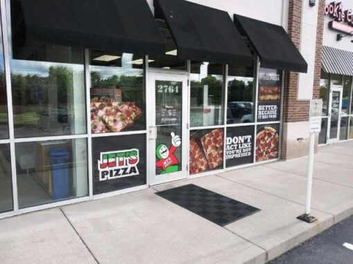Jet's Pizza Sign - Perforated Window Vinyl - Carmel, IN