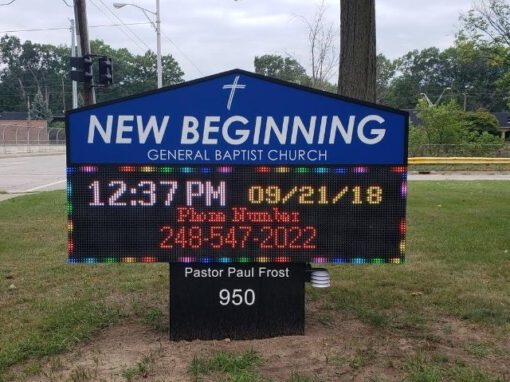 New Beginning Church Sign - LED Message Center Front - Madison Heights, MI