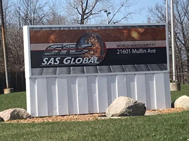 SAS Global Corporation Sign - Monument cabinet Front - Warren, MI
