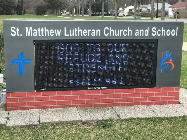 St. Matthew Lutheran Church Sign - LED Message Center Front - Walled Lake, MI