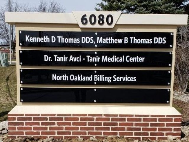 Tanir Medical Center Sign - Faux Brick Monument with Acrylic Panels Front - Clarkston, MI
