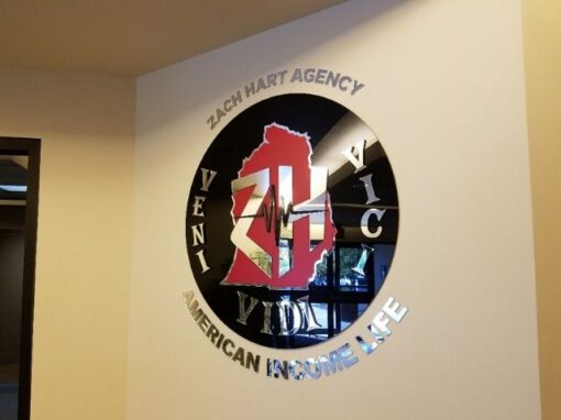 Zach Hart Agency Sign - Custom Lobby Sign Side Angle - Troy, MI
