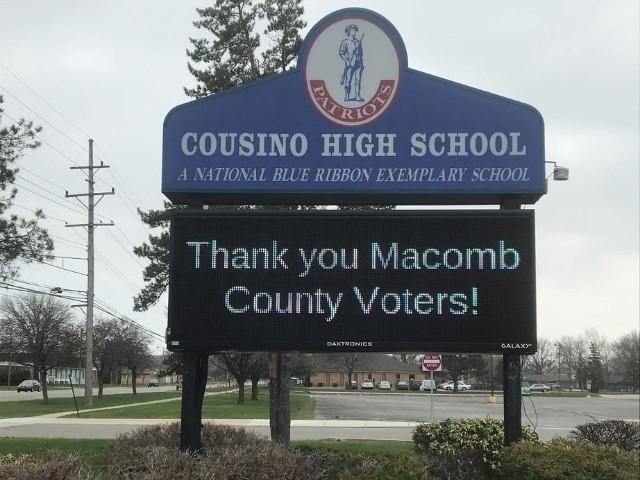 Cousino High School - LED Message Center Close UP - Warren, MI
