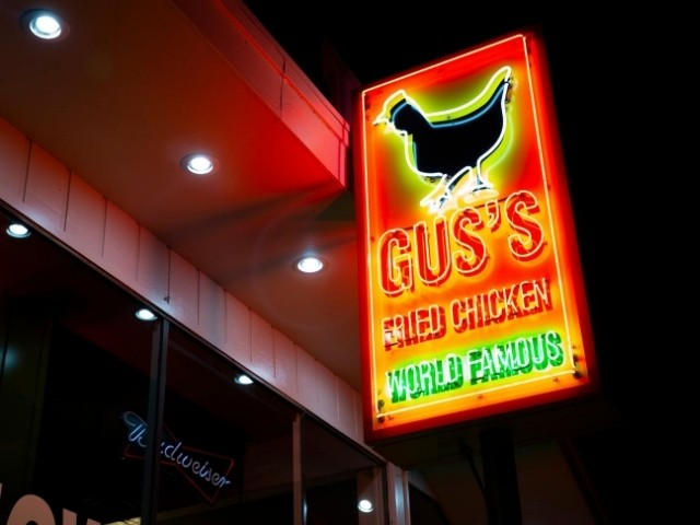 Gus's Fried Chicken Sign - Neon Blade Sign Close Up - Royal Oak, MI