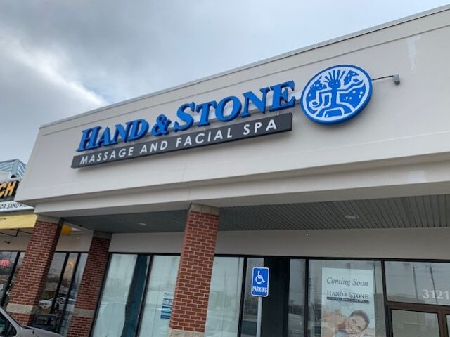 Hand & Stone Sign - Channel Letters - Front of Building Angle - Farmington Hills, MI