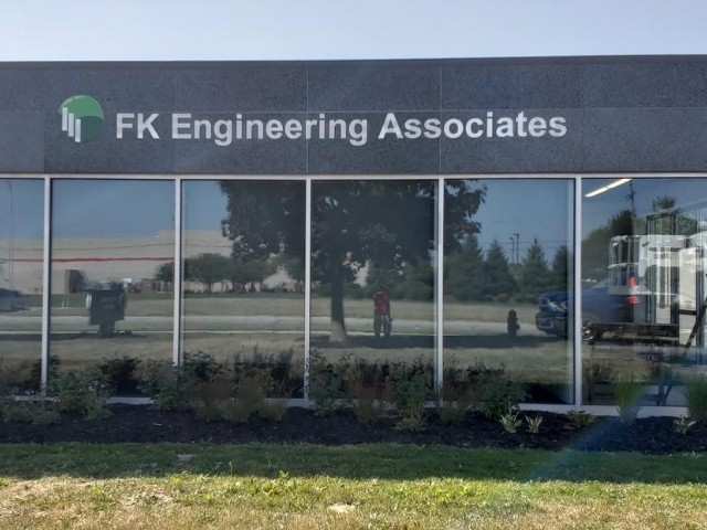 FK Engineering Sign - Dimensional Letters Building Sign, Front View - Madison Heights, MI