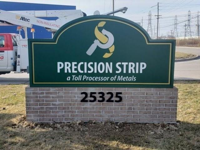 Precisions Strip Signs - Monument Sign, Left View - Trenton, MI