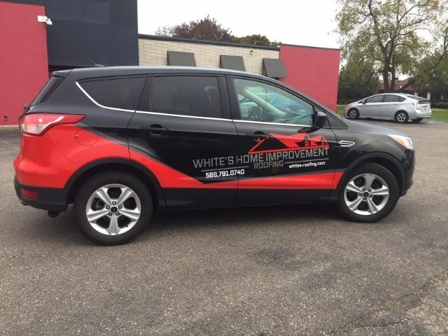 White's Home Improvement Wrap - Vehicle Wrap Righ side view smaller car - Troy, MI
