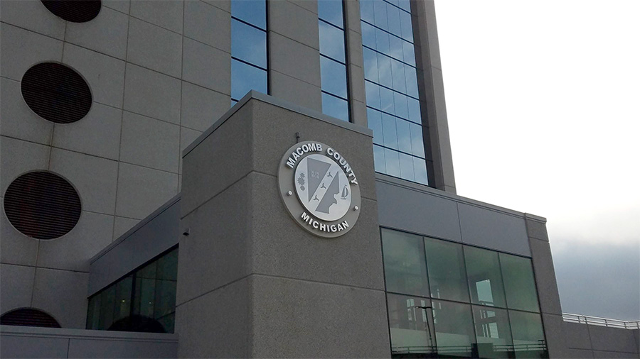 Macomb County Michigan Government Building Sign